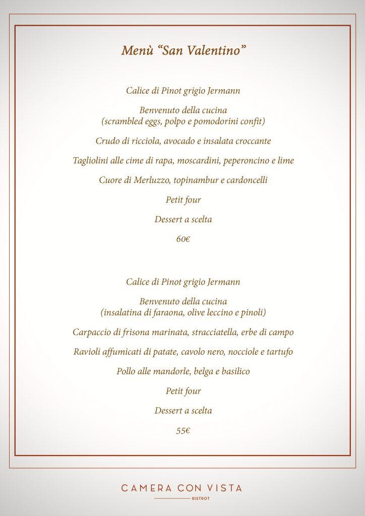 menu San Valentino 2020
